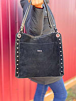 Большая замшевая черная женская сумка на плечо шоппер брендовая натуральная замша+кожзам