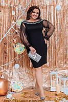 Батальне нарядне плаття з сіточкою та паєтками на декольте.Р-ри 50 -56, фото 1