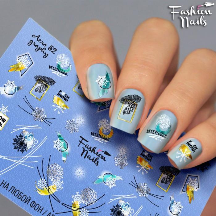 Слайдер-дизайн Зима і Новий Рік - Новорічні наклейки для нігтів Сніжинки Написи арт.Aero52