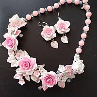Колье и серьги с розовым розами, фото 1