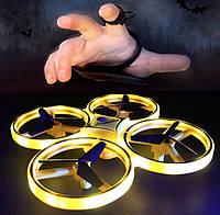 Квадрокоптер управляемый жестами руки, TRACKER, Желтый / сенсорный дрон / с браслетом