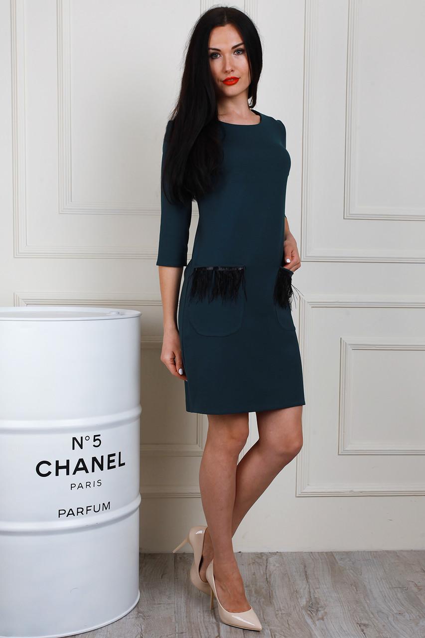 Платье 653-04 цвет бутылочный