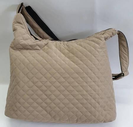 Дутая/стеганая зимняя женская сумка бежевая 1091843251, фото 2