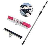 Щетка для чистки солнечной панели 6м телескопическая ручка и сменная склиз насадка 55см
