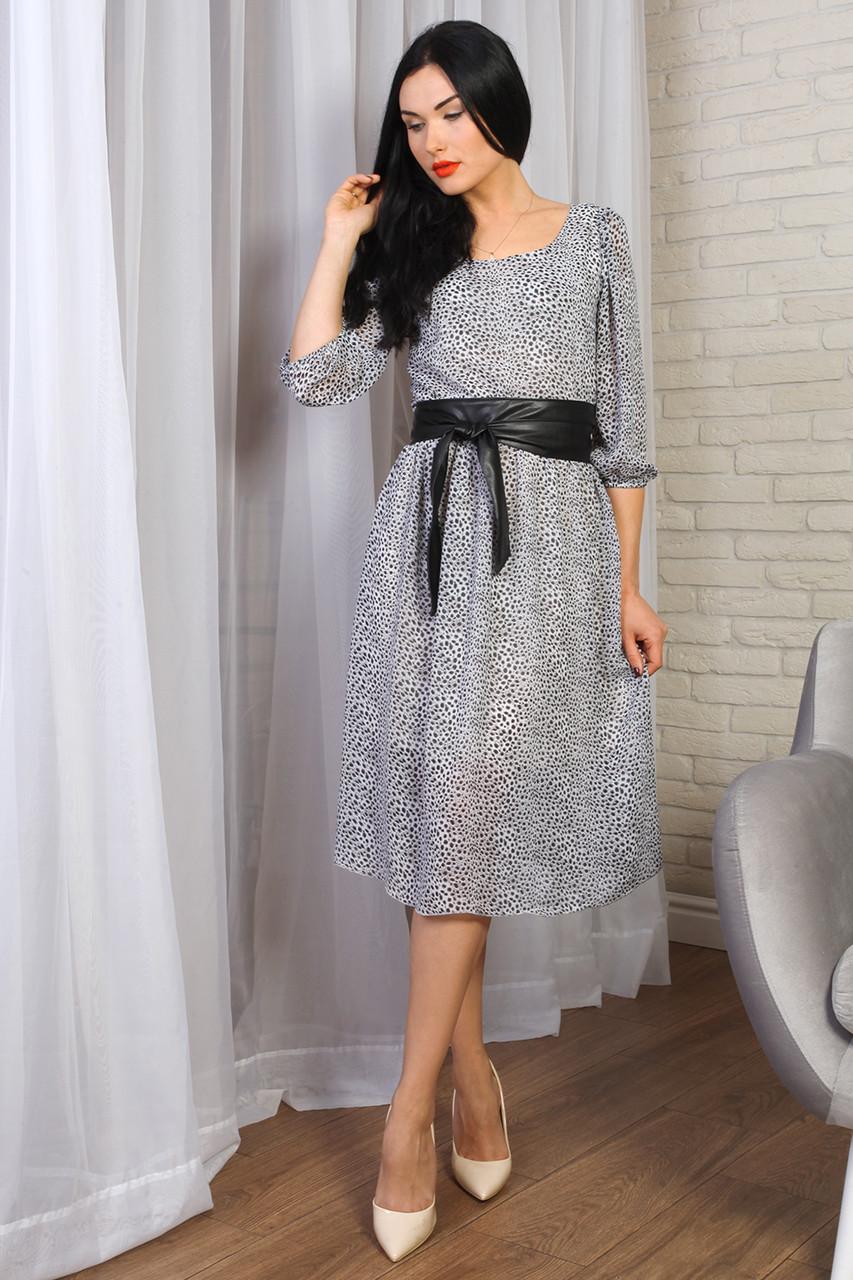 Платье 777-03 цвет серый с черным поясом