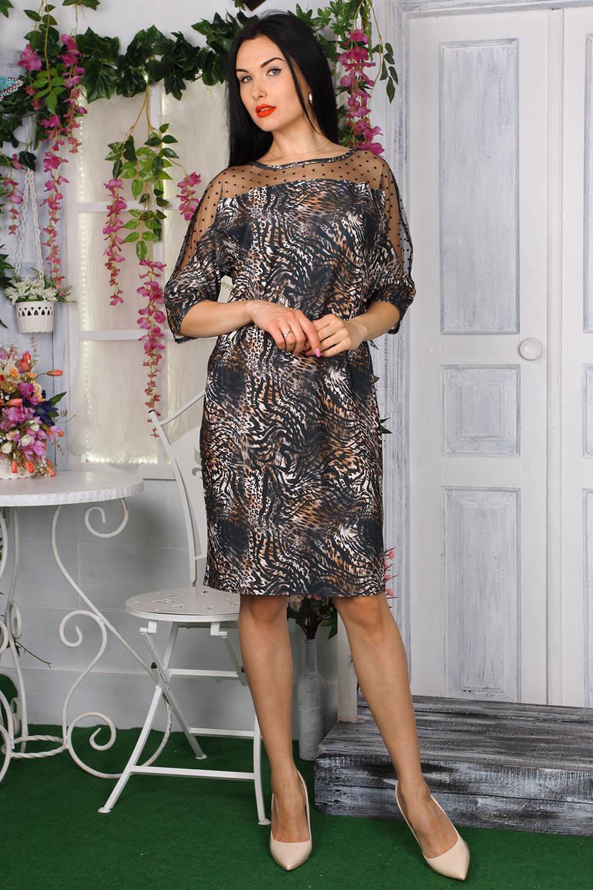 Платье 782-02 цвет серый с принтом