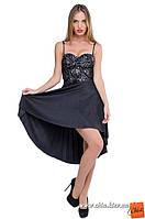 М/44 Изысканное нарядное платье с серебристым  гипюром и плиссе черный