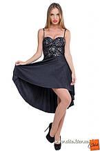 Изысканное нарядное платье с серебристым  гипюром и плиссе черное