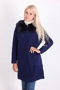 Пальто женское LadiesFashion 1638 с пуговицами (Синий XL/XXL)