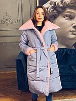 Женский двухсторонний зимний пуховик миди с поясом, фото 1