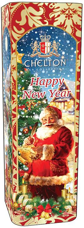 Чай в новогодней упаковке Челтон черный крупнолистовой 80 г в жестяной банке