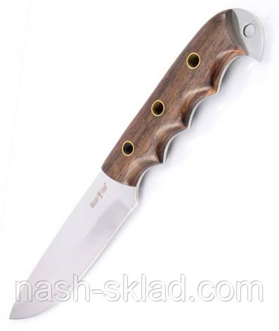 Нож для охоты и рыбалки Днепр, рукоять из дерева, + кожаный чехол с  эксклюзивными фотографиями, фото 2