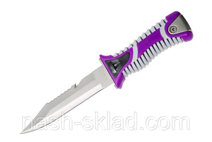 Нож для дайвинга Окунь-2, со стропорезом и пластиковым чехлом с ремнями для крепления на тело, фото 2