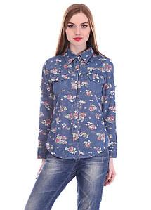 Рубашка женская GinmeiyanFashion 017-1 с пуговицами (Синий M/L)