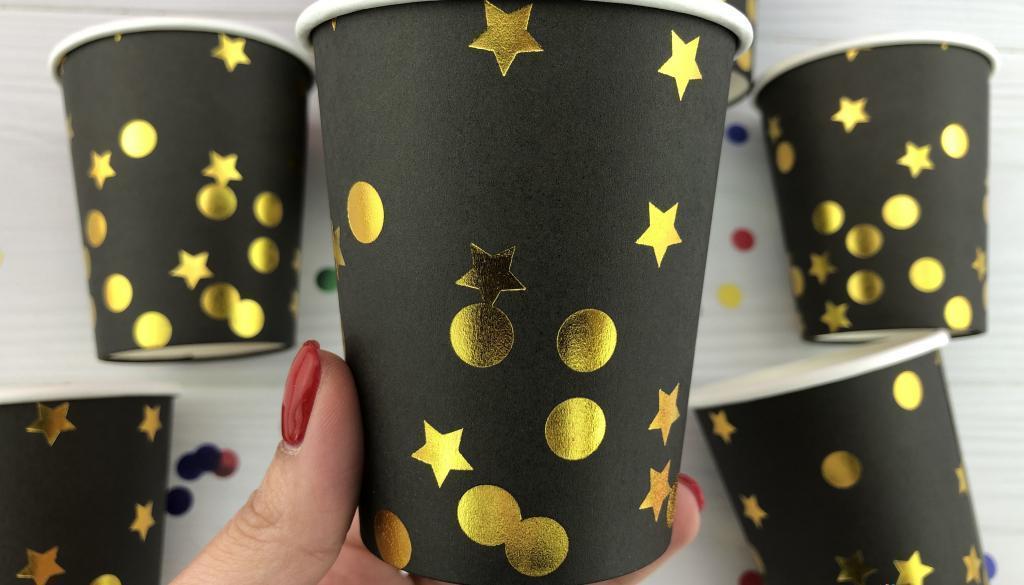 Бумажные стаканчики Черный и золотые звезды, 20 шт