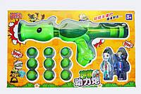 Игровой детский набор пистолет Горохострел + 2 Зомби + мягкие пули пневматичекая пушка Растения против зомби