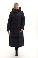 Пуховик пальто зимний женский длинный «Ангелия» (Черный | 46, 48, 50, 52, 54, 56, 58)