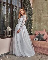 Роскошное женское платье в пол с красивой открытой спинкой и пышной фатиновой юбкой  С, М