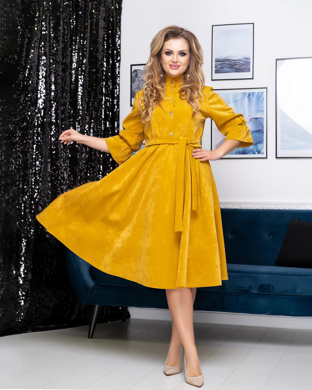 Платье замшевое миди 05107