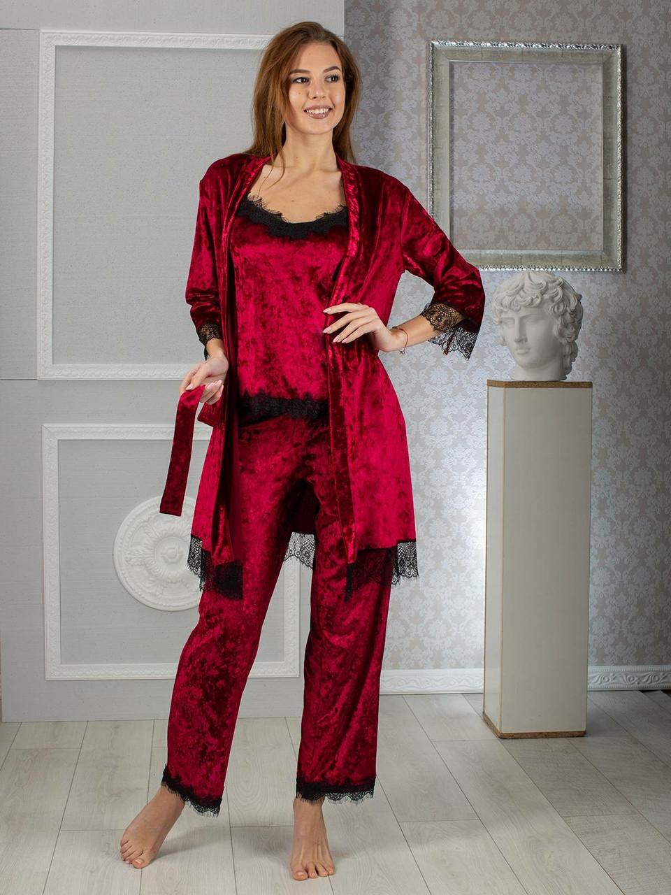 Женская красивая пижама тройка бархат 42 44 46 48 размеры есть цвета