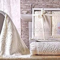 Элитные жаккардовые полотенца на подарок Esra, Кремовый, 50х90-1 шт, 70х140-1 шт