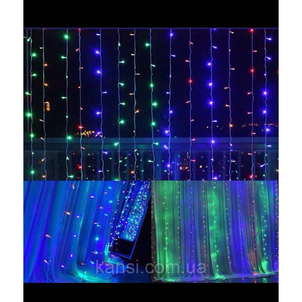 Гирлянда Штора Led 400 мультицветная 3м*2м, светодиодная гирлянда Водопад, гирлянда Микс