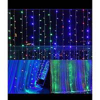 Гирлянда Штора Led 400 мультицветная 3м*2м, светодиодная гирлянда Водопад, гирлянда Микс, фото 1