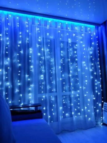 Светодиодная гирлянда Водопад Led 400  3м*2м синяя, лед гирлянда штора СИНИЙ