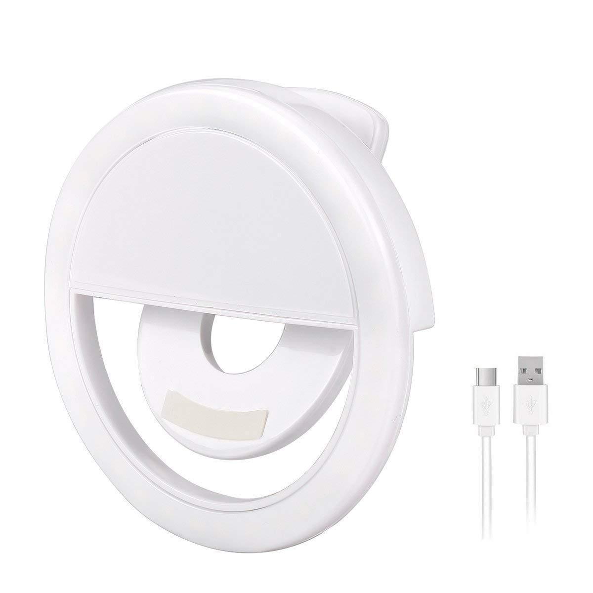 Аккумуляторная вспышка-подсветка Selfie Ring Light для телефона селфи-кольцо XJ-01 Белое USB