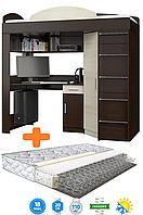 Кровать-чердак с ортопедическим матрасом с рабочей зоной и шкафом