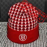 Красивая Женская вязаная шапка Tommy Hilfiger красная Красивая VIP новинка 2019 года унисекс реплика