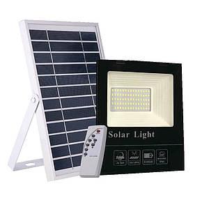 Светодиодный прожектор 40W на солнечной батарее с пультом. Фонарь солнечный 6500К