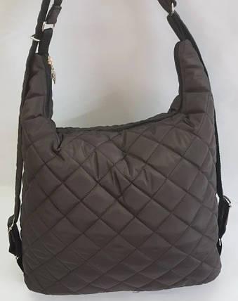 Стеганая зимняя женская сумка-рюкзак коричневая BR-S 1091899239, фото 2