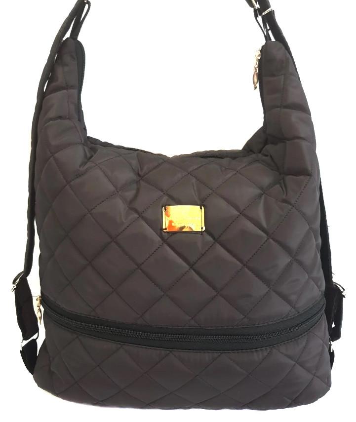 Стеганая зимняя женская сумка-рюкзак коричневая BR-S 1091899239