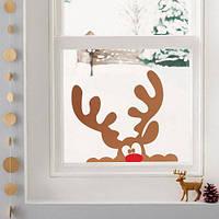 Наклейка на окно новогодняя Олень Рудольф (виниловые наклейки на стены витрины, олени рога, новый год)