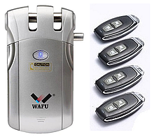 Скрытый Дверной Электронный Замок - Невидимка с 2 пультами ДУ, накладной WAFU, Модель: WF-018