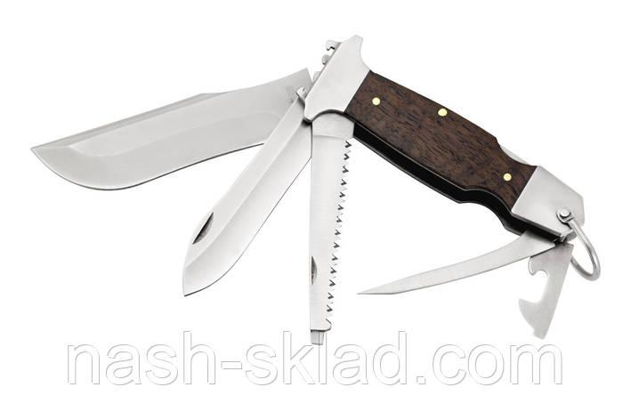 Мощный многофункциональный нож с деревянной рукоятью, фото 2