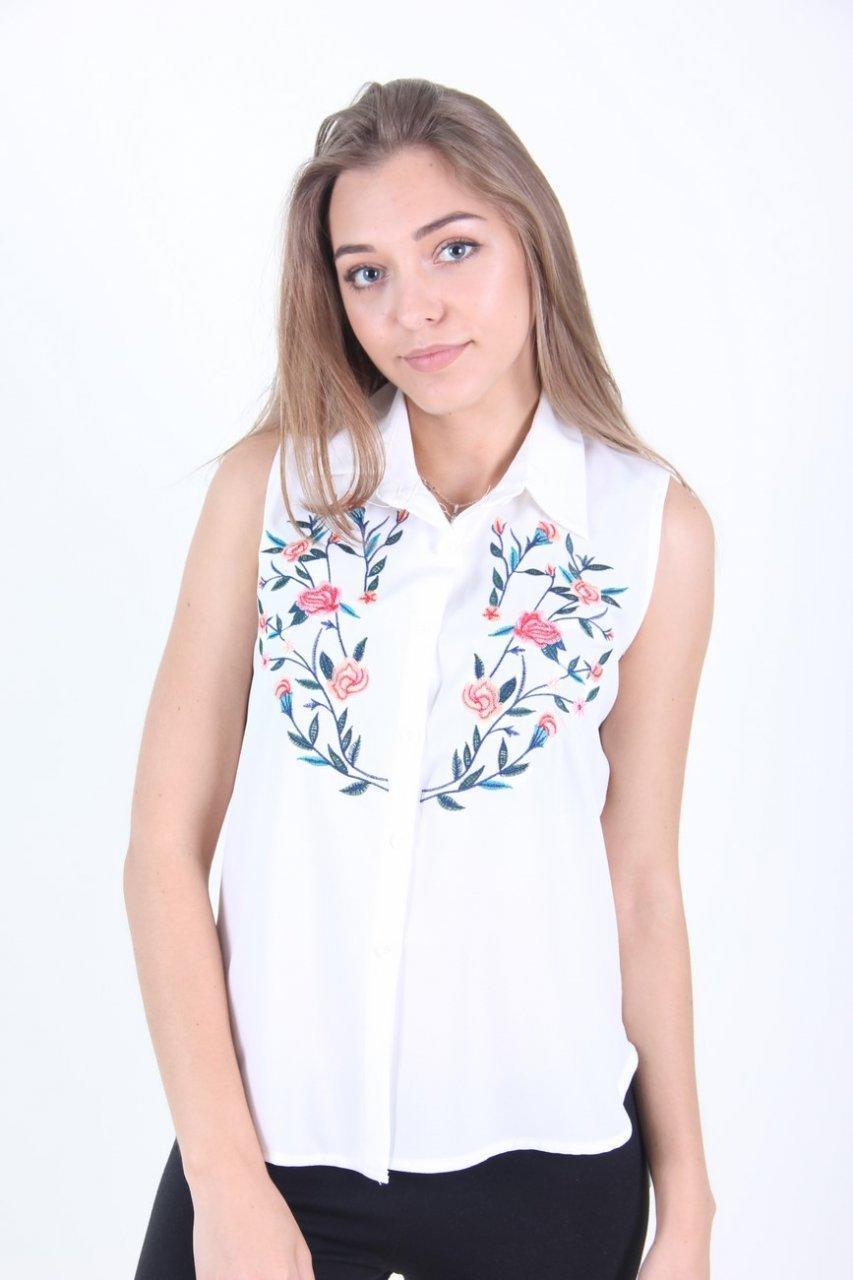 Блузка женская LadiesFashion 108 с принтом (Белый M)