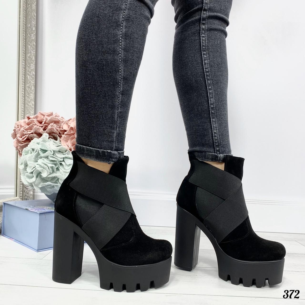 40 р. Ботинки женские зимние черные замшевые на высоком каблуке, из натуральной замши, натуральная замша
