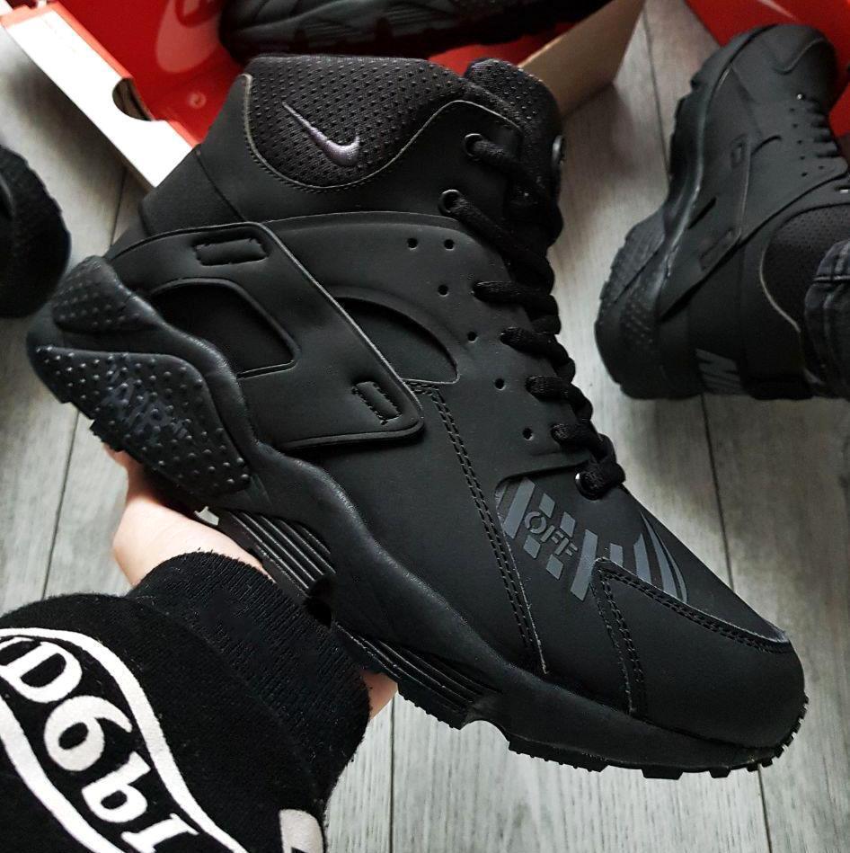 Зимние мужские кроссовки Nike Air Huarache Winter Black/White с мехом (2 ЦВЕТА)