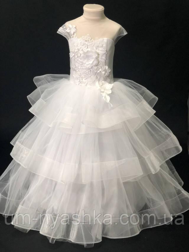 длинное пышное белое платье снежинка