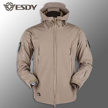 """🔥 Куртка Soft Shell """"ESDY. TAC-105"""" - Койот (непромокаемая куртка, тактическая, полицейская)"""
