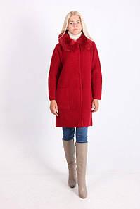 Пальто женское LadiesFashion 1638 с пуговицами (Марсал XL/XXL)