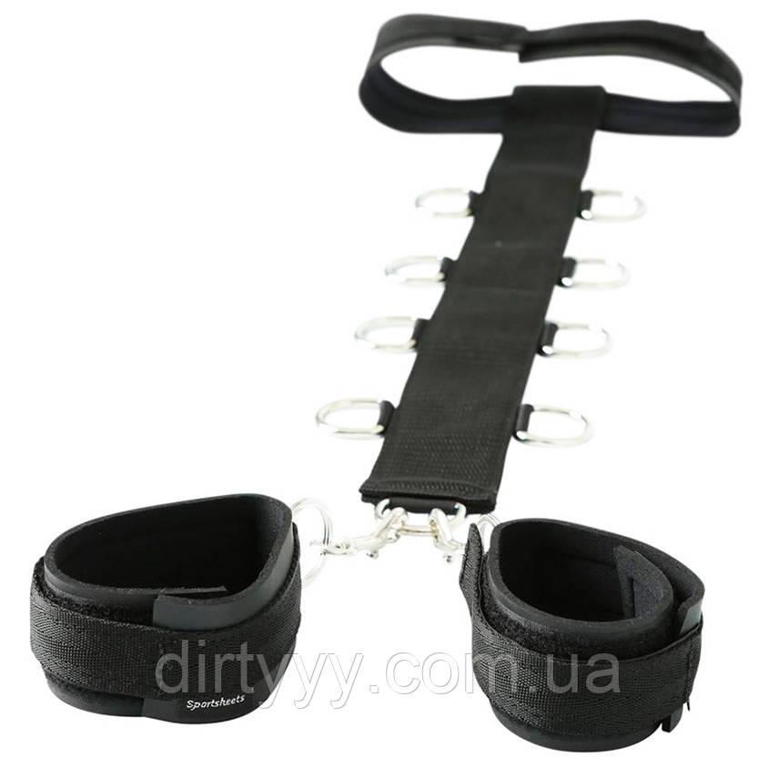 Ошейник с наручниками Sportsheets Neck & Wrist Restraint, цвет: черный
