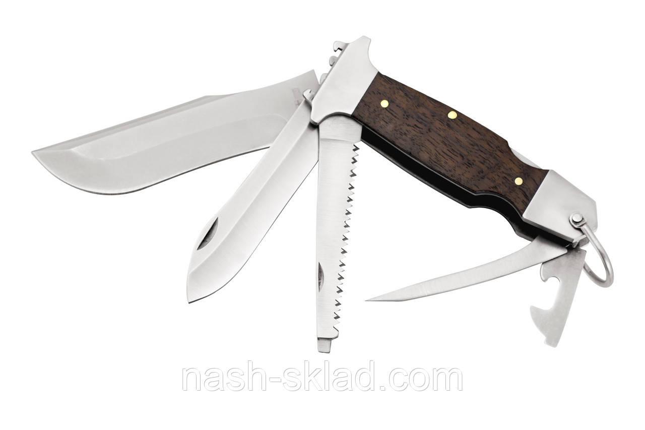 Мощный многофункциональный нож с деревянной рукоятью