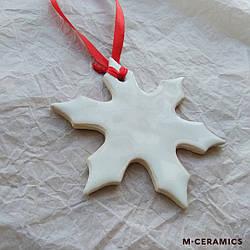 """Новогодняя керамическая игрушка ручной работы белая """"Снежинка"""""""