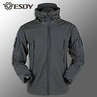 """🔥 Куртка Soft Shell куртка """"ESDY 105"""" - Серая (непромокаемая куртка, тактическая, полицейская)"""