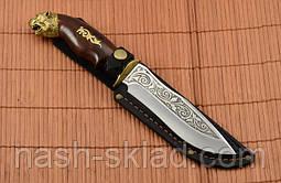 Нож охотничий Тигр сделано в Украине, ручная работа, кожаный чехол и паспорт, фото 2