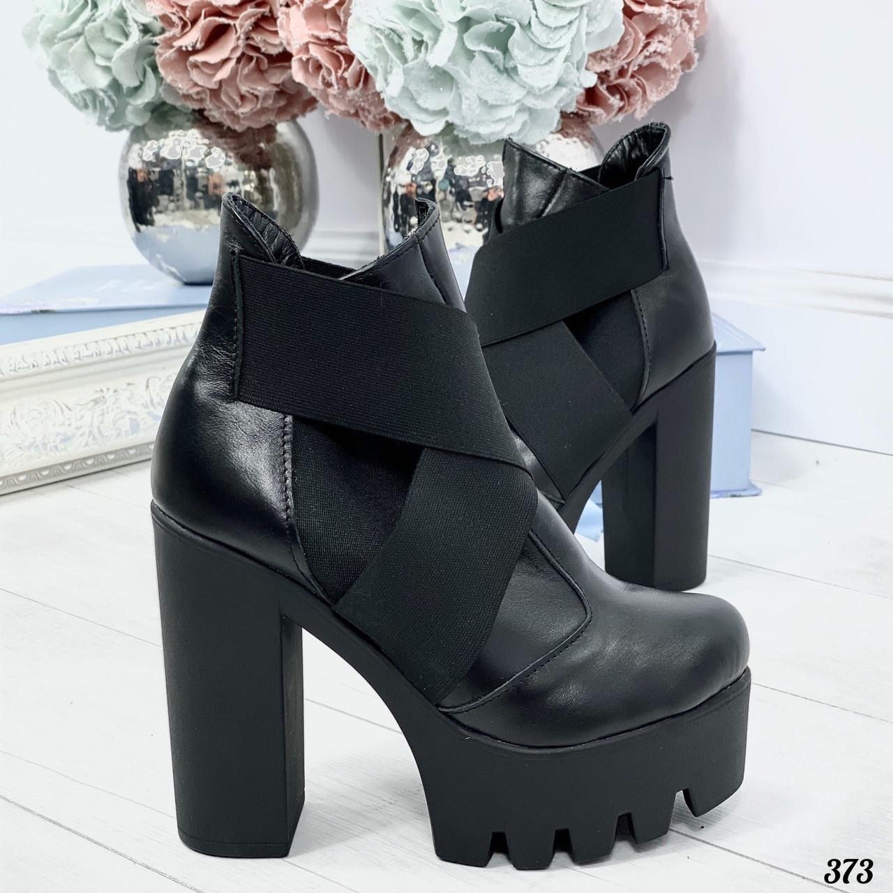 37 р. Ботильоны женские зимние черные кожаные на высоком каблуке, из натуральной кожи, кожа