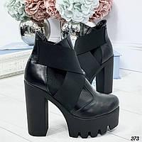 37 р. Ботильоны женские зимние черные кожаные на высоком каблуке, из натуральной кожи, кожа, фото 1